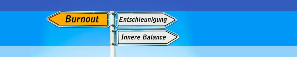 Schild mit Richtungsanzeigern in Richtung Burnout. Die anderen zeigen in Richtung Entschleunigung und Innere Balance