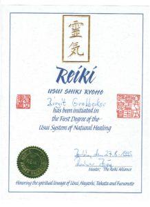 Reiki erster Grad Urkunde